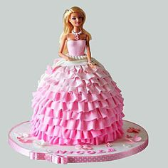 Five Fantastic Vacation Ideas For Barbie Cakes Barbie Doll Birthday Cake, Barbie Theme Party, 4th Birthday Cakes, Bolo Barbie, Barbie Cake, Barbie Dress, Pink Dress, Barbie Cupcakes, Dolly Varden Cake
