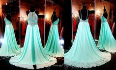 This Evening Gown in Seafoam is absolutely breathtaking with its bib neckline completely stitched with intricate beading. The full chiffon skirt gives this dress fabulous allure! ONLY at Rsvp Prom and Pageant, Atlanta, GA