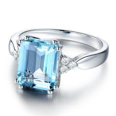 cf8fc759ba8 Blue Topaz s925 Sterling Silver Promise Ring Wedding Ring For Her
