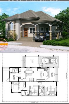 Home design plan with 3 Bedrooms - Home Design with Plansearch Home design plan with 3 Bedrooms.House description:One Car Parking and gardenGround Level: Living room, Bedroom with bathroom, 2 Bedrooms, House Layout Plans, My House Plans, Bedroom House Plans, Small House Plans, House Layouts, Bungalow Floor Plans, Modern Bungalow House, Home Design Floor Plans, 3 Bedroom Bungalow