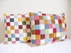 Tiny granny squares patchwork pillows by Emma Lamb. ♥♥ great inspiration!!!