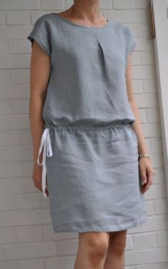 patron D du Stylish Dress Book 2 modifié avec ajout dun pli Stylish Dress Book, Stylish Dresses, Simple Dresses, Casual Dresses, Fashion Dresses, Dresses For Work, Linen Dresses, Cotton Dresses, Mode Inspiration