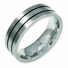 Stainless Steel Roman Numeral Comfort Fit Flat Band Ring