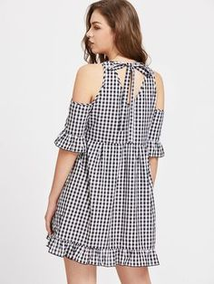 Online shopping for Open Shoulder Cutout Tie Back Frill Detail Gingham Dress from a great selection of women's fashion clothing & more at MakeMeChic. African Fashion Dresses, Fashion Outfits, Women's Fashion, Lace Dress Styles, Kurta Designs Women, Different Dresses, Gingham Dress, Couture Fashion, Casual Dresses