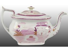 Early Staffordshire Pink Luster Teapot
