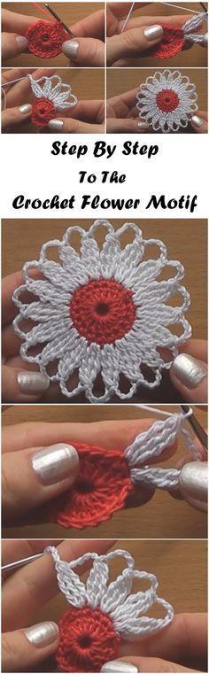 "Crochet Flower Motif Step by Step ""Crochet Flower Motif Step by Step sl st 17 dc 17 sc change color."", ""Crochet Flower Motif Step by Step .no written pa Crochet Diy, Crochet Simple, Crochet Motifs, Crochet Squares, Love Crochet, Crochet Crafts, Crochet Doilies, Crochet Stitches, Crochet Projects"