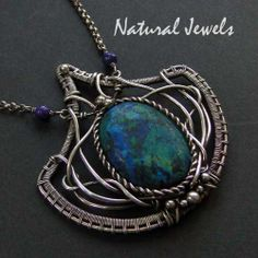 Chrysocolla - Exclusive handmade artisan Sterling and Fine Silver magical necklace with the blue green gemstone Chrysocolla