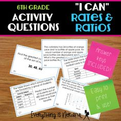 "Grade ""I Can"" Ratio - Activity Questions Inspire Others, Task Cards, Teacher Stuff, I Can, The Unit, Student, Teaching, Activities, Canning"