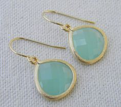 Aqua Mint Earrings in Gold, Bride, Bridal, Wedding. $22.50, via Etsy.