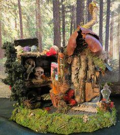 Fairy House Voodoo Hut Dark Magic Miniature House by WoodlandFairyVillage, $43.99
