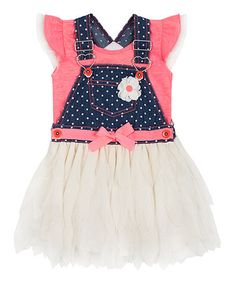 Loving this Coral Glow Denim Tutu Skirtall & Ruffle Tee - Toddler on #zulily! #zulilyfinds