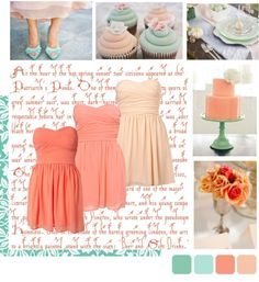 """""""Teal And Peach Wedding Mood Board"""" by very-curious-wedding on Polyvore"""