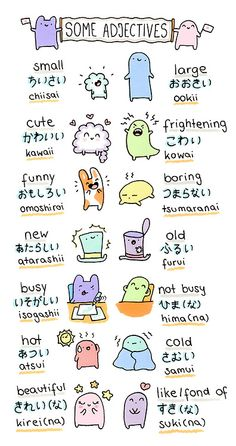 "kirakiradoodles:      There are two different types of japanese adjectives. ""i-adjectives"" and ""na-adjectives"". Some examples ^-^     (via holycrapjapanese)"