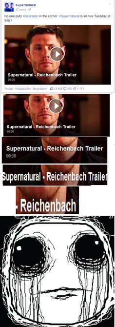 This just shows how awful the SPN are.they named an episode Reichenbach. Demon Dean, British Accent, Fandom Crossover, Fandoms, Supernatural Seasons, Bad Feeling, Geek Out, Martin Freeman, Destiel