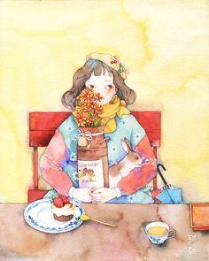 女孩和兔子-那仁_女孩,水彩,兔子,手绘,小清新_涂鸦王国插画