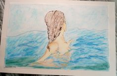 deb yager original 2014  swimming   pastels / pen & ink  original unframed $350