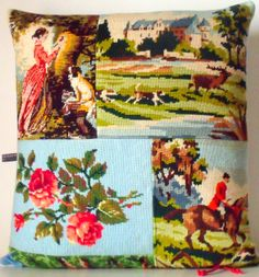 UNIQUE French Needlepoint Tapestry & Antique Linen Fragonard Roses Hunt  Collage Statement Pillow Cushion Coussin