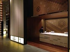 Andaz hotel Toranomon lobby. You must see the beautiful Japanese patterned wall.