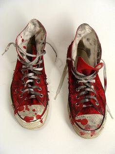 Custom Made Bloody Red ZOMBIE SHOES vintage Chucks Converse All Stars Hi Tops mens 10 womens 12. $48.00, via Etsy.