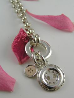 My inner Bohemian is coming out! Love this! Button Necklace with Two Buttons Large Silver and by CherishButton