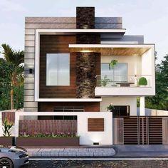 Modern Exterior House Designs, Modern House Facades, Modern Villa Design, Unique House Design, Dream House Exterior, House Fence Design, Two Story House Design, 2 Storey House Design, Bungalow House Design