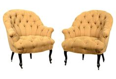 Tufted Linen Chairs, Pair