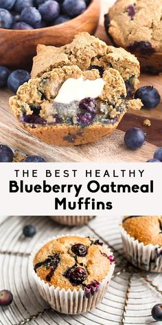 Best Healthy Blueberry Oatmeal Muffins Healthy blueberry muffins that you can feel good about eating! Made with a mix of almond flour and oat flour. These blueberry oatmeal muffins are gluten free, dairy free and packed with nutritious ingredients. Oatmeal Blueberry Muffins Healthy, Chocolate Chip Muffins, Healthy Muffins, Blue Berry Muffins, Healthy Dessert Recipes, Healthy Baking, Healthy Desserts, Gourmet Recipes, Baking Recipes
