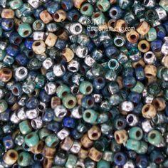 Jaded Jeans Matubo 7/0 Seed Beads, 15 grams, Czech Glass Seed Bead Mix, 3911, 7/0 Seed Bead Mix, Jaded Jeans Mix