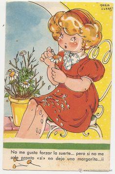 Mari Pepa. Postal antigua de caricatura. Mar�a Claret ilustradora