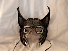 Gray European Lynx Leather Mask by GriffinForge on Etsy, $198.00