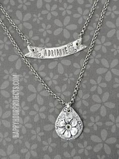 Stamped and Riveted Floral Necklace