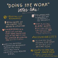 """A lot of times we say """"we have to do the work"""" or """" you have to work on your inner self"""" and at first, I didn't know what that meant. So here are some examples of what doing the work looks like🥰🌻⠀ . Self Awareness, Mental Health Awareness, Motivation, Mental And Emotional Health, Emotional Healing, Self Care Activities, Best Self, Self Development, Self Improvement"""