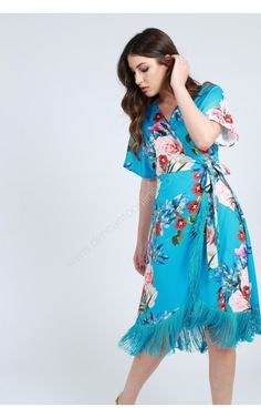 VESTIDO EST PAREO MIDI FLECOS BAJO Short Sleeve Dresses, Dresses With Sleeves, High Low, Color, Fashion, Block Prints, Turquoise, Yellow, Blouses