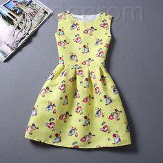 Short Retro Printing Patterns Women's Clothing Sleeveless Casual Dress YHD2-17 Size S M L XL on Luulla