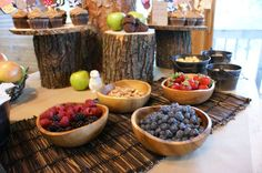 Woodland Creatures Baby Shower | Lemon Tree Studio. Fresh fruit in wooden bowls. Looks nice!