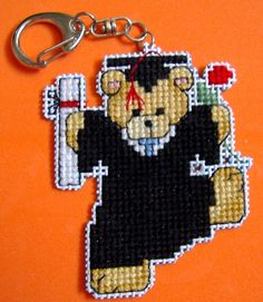 cross stitch teddy bears | Cross Stitch Teddy Bear Graduate Keychain