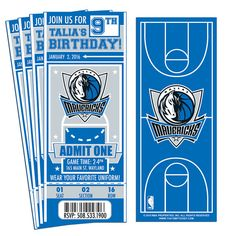 12 Dallas Mavericks Custom Birthday Party Ticket Invitations - Officially Licensed by NBA