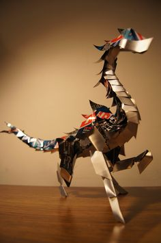 Prancing Dragon by ~Cryoprime on deviantART (made of aluminum cans)