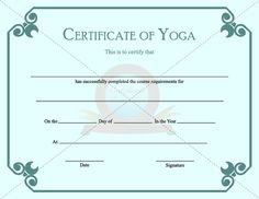 Yoga certificates pack you receive 6 yoga certificates 1 yoga certificate of yoga education templatescertificate yadclub Choice Image