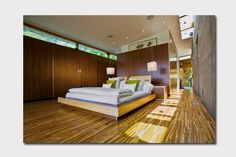 decorating with tiger bamboo flooring | Tiger Stripe bamboo flooring in a contemporary bedroom = love!