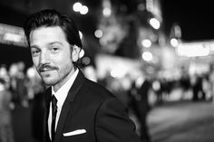 """Diego Luna Photos Photos - Image has been shot in black and white. Color version not available.)  Actor Diego Luna attends The World Premiere of Lucasfilm's highly anticipated, first-ever, standalone Star Wars adventure, """"Rogue One: A Star Wars Story"""" at the Pantages Theatre on December 10, 2016 in Hollywood, California. - The World Premiere Of """"Rogue One: A Star Wars Story"""""""