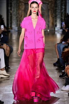John Galliano Spring 2014 RTW. #JohnGalliano #Spring2014 #PFW shocking pink. organza. sheer. 3D florals. neoprene. boxy. hard and soft lines.