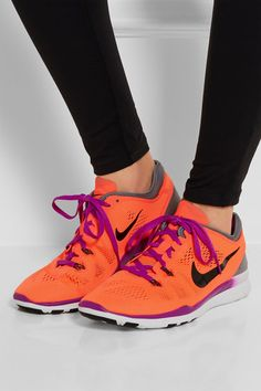Rubber sole measures approximately 30mm/ 1 inch Bright-orange and gray mesh Lace-up front Designer color: Hyper Orange/ Cool Gray/ Vivid Purple/ Black