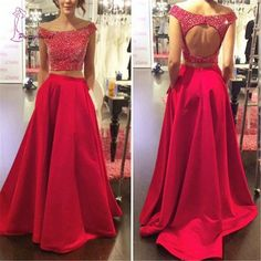Shevny 2017 2 Pieces Red Beading A Line Satin Prom Dress