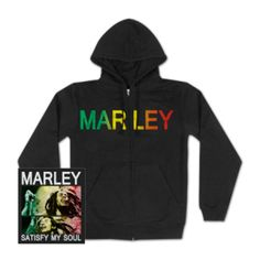 Bob Marley Satisfy My Soul Zip Hoodie - Satisfy your soul (and your body temperature) with this Bob Marley Satisfy My Soul Zip Hoodie detailed in colorful front and back prints. Is this love or what?