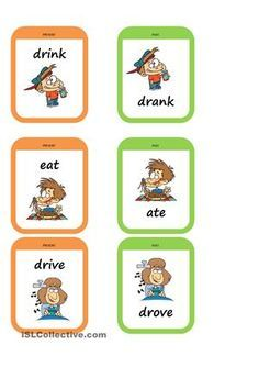 Memory game to practise the past tense. There are 17 pairs of usual irregular verbs. Each pair has the same picture and the verbal form. Present and past card come in different colours. - ESL worksheets