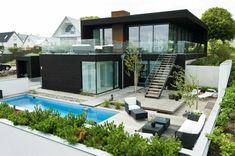 villa contemporaine, maison avec des lignes stylées