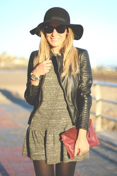 Black leather jacket & a black fedora.  OMG Click the PIC!