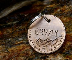 Custom Dog ID Tag Grizzly in XL 1.5'' Distressed by theCopperPoppy