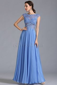 A Line Capped Sleeves Blue Evening Dress Formal Gown ($229.99) #edressit #prom_dress #formal_dress #women #fashion